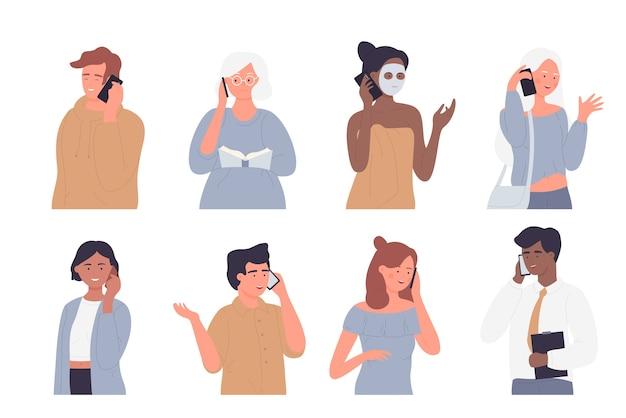 Ludzie rozmawiają przez zestaw ilustracji telefonu.