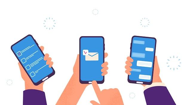Ludzie rozmawiają. ręce trzymają smartfony, cyfrowe uzależnienie. aplikacja do zarządzania czasem biznesowym, wysyłanie mobilnych wiadomości e-mail i ilustracji wektorowych na czacie. czat przez telefon komórkowy, komunikacja na ekranie smartfona