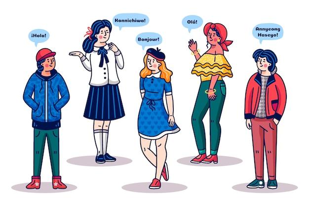 Ludzie rozmawiają w różnych językach stylu cartoon