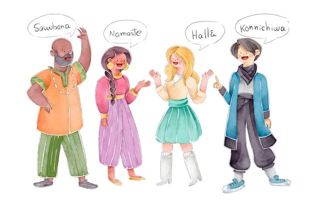 Ludzie rozmawiają w różnych językach