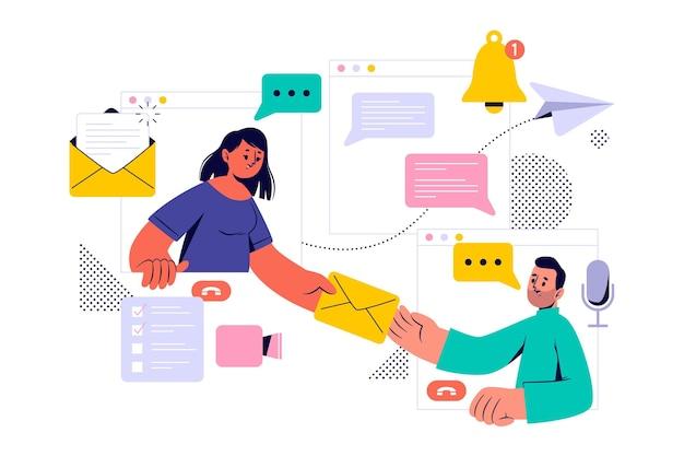Ludzie rozmawiają za pośrednictwem poczty elektronicznej