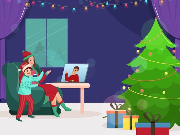 Ludzie rozmawiają ze sobą na rozmowę wideo z choinką, pudełkami na prezenty i oświetleniem garland ozdobiony salonem.