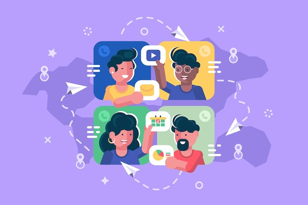 Ludzie rozmawiający razem online płaski plakat