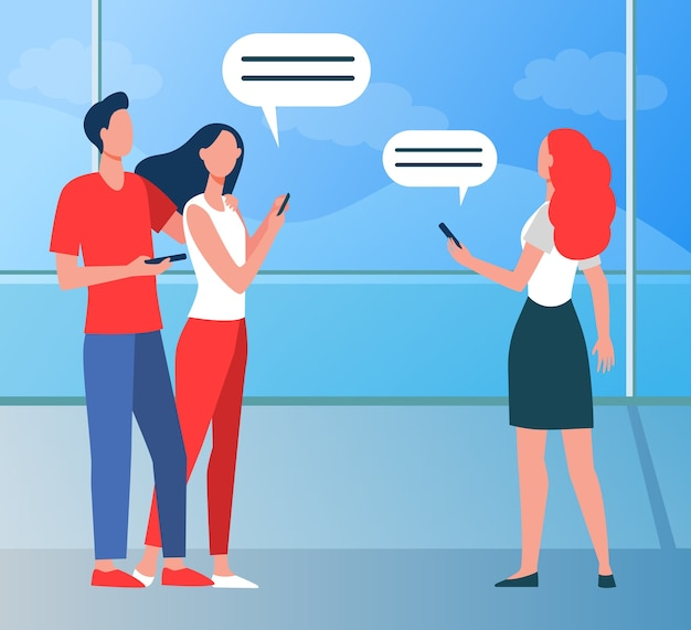 Ludzie rozmawiający z telefonami przez internet przy panoramicznym oknie. korzystanie ze smartfonów, dymki, ilustracja wektorowa płaskie wnętrze. komunikacja