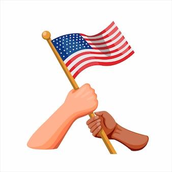 Ludzie różnorodności jedności symbolu z ręki mienia flaga amerykańską, amerykański dnia niepodległości pojęcie w kreskówki ilustraci na białym tle