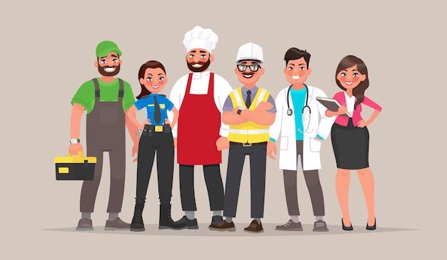 Ludzie różnych zawodów. konstruktor, policjantka, kucharka, inżynier, lekarz i nauczycielka. szablon na święto pracy. w stylu kreskówki