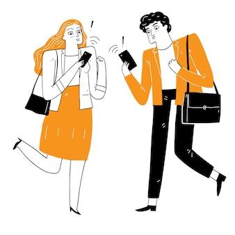 Ludzie są podekscytowani czymś otrzymanym na smartfonie. ilustracja wektorowa