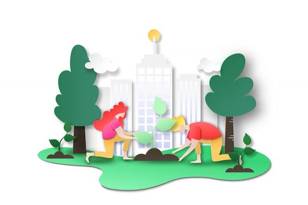 Ludzie sadzą drzewo w mieście na zielonym świecie.