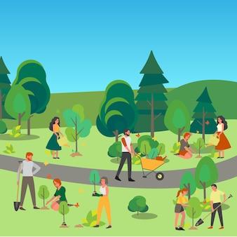 Ludzie sadzą drzewo w parku. idea troski i człowieczeństwa, natura