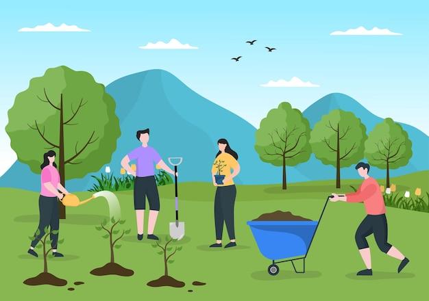 Ludzie sadzenia drzew płaskie kreskówka wektor ilustracja z ogrodnictwa, rolnictwa i rolnictwa wykorzystania korzeni drzew lub łopaty dla koncepcji opieki środowiska