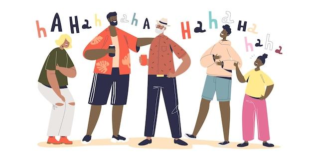 Ludzie się śmieją. grupa przyjaciół lub rodzina spędzała razem czas opowiadając zabawne historie lub przezabawne dowcipy, śmiejąc się na głos. wesołe dzieci i dorośli uśmiechnięci. ilustracja kreskówka płaski wektor