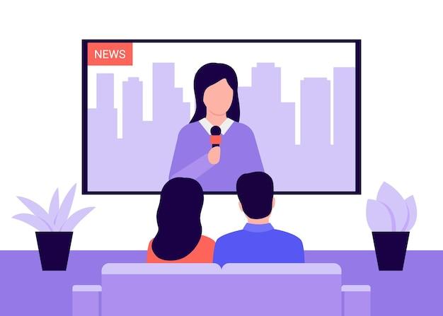 Ludzie siedzą na kanapie i oglądają wiadomości w telewizji w domu.