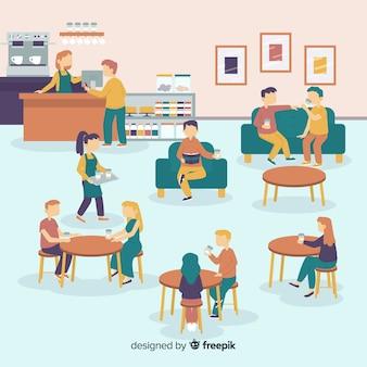 Ludzie siedzą w kawiarni
