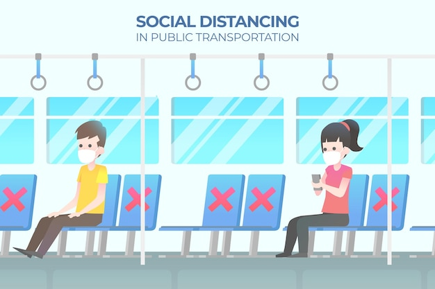 Ludzie siedzący daleko od siebie w transporcie publicznym