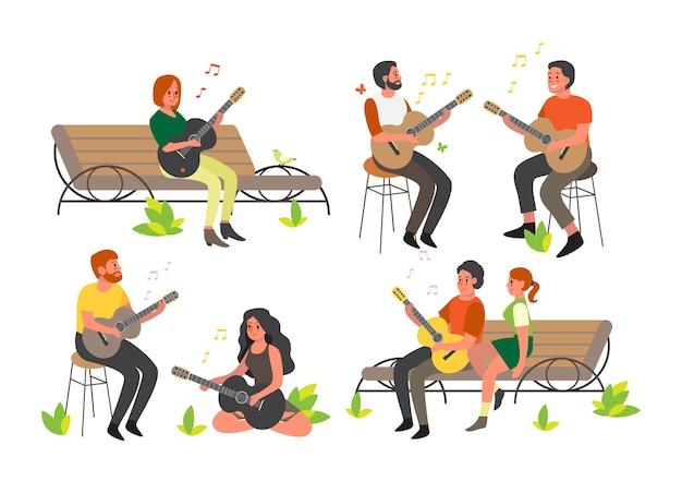 Ludzie siedzący i grający na gitarze akustycznej. postać dla dorosłych z instrumentem muzycznym. młody wykonawca, muzyk rockowy.