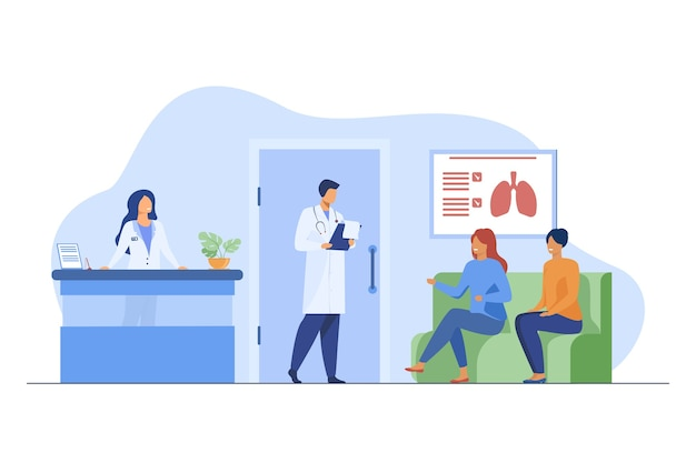 Ludzie siedzący na szpitalnym korytarzu i czekający na lekarza. pacjent, klinika, wizyta płaska ilustracja wektorowa. medycyna i opieka zdrowotna