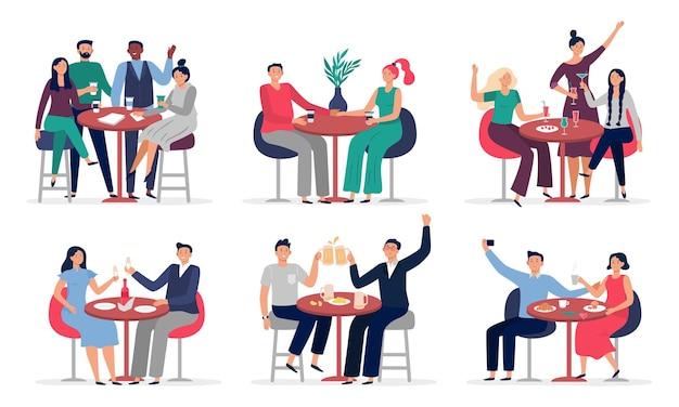 Ludzie siedzący przy stoliku w kawiarni. zakochane pary na randkę, spotkanie w kawiarni z przyjaciółmi zestaw ilustracji.