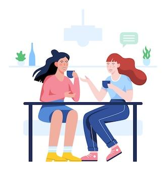 Ludzie siedzący w kawiarni i piją kawę. znajomi na czacie. dwie postacie kobiece spędzają czas w kawiarni. ludzie mówią. ilustracja