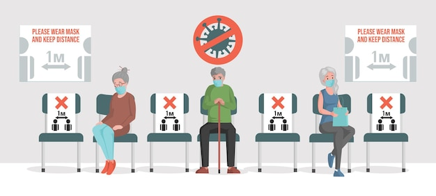 Ludzie siedzący w kolejce, zachowują płaską ilustrację bezpiecznego dystansu społecznego