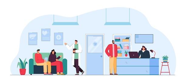 Ludzie siedzący w poczekalni przychodni lekarskiej. płaska ilustracja