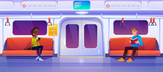 Ludzie siedzący w wagonie metra, wagon metra