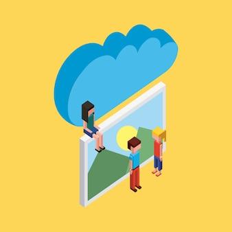 Ludzie siedzący zdjęcie cloud computing przechowywania izometryczny