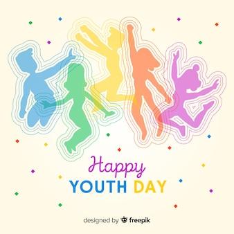 Ludzie skaczący sylwetka młodzieży dzień tła