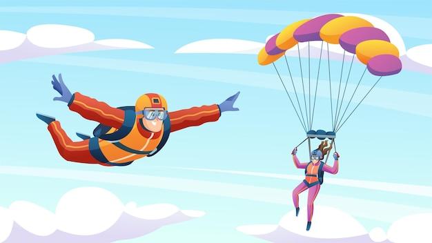 Ludzie skaczący ze spadochronem i spadochroniarstwo na ilustracji nieba