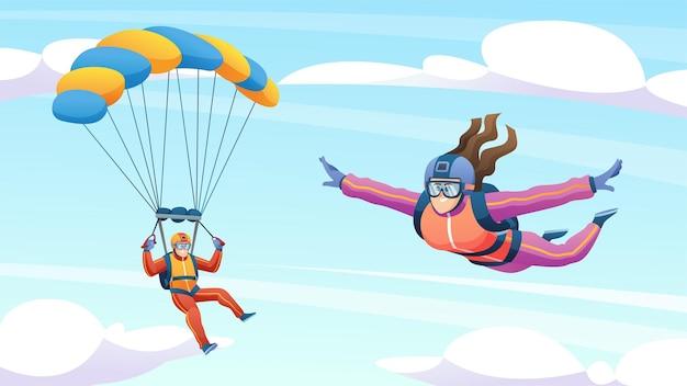 Ludzie skaczący ze spadochronem na niebie ilustracja kreskówka