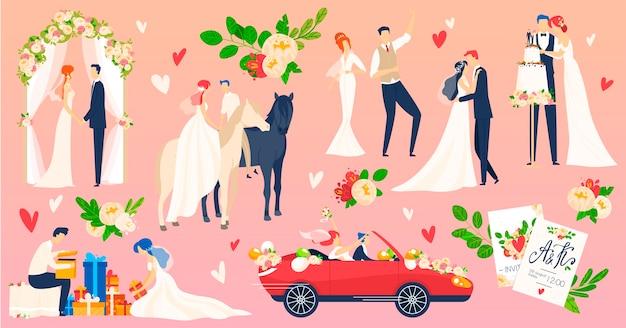Ludzie ślub, małżeństwo wektor ilustracja płaski zestaw. postać z kreskówki nowożeńców na scenie romantycznej ceremonii ślubnej, młody pan młody taniec na weselu