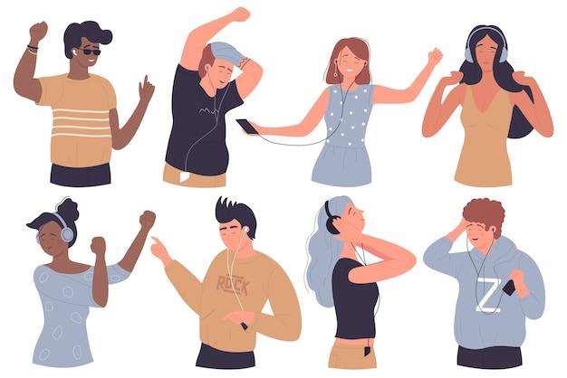 Ludzie słuchają muzyki, cieszą się zestawem ilustracji dźwiękowych
