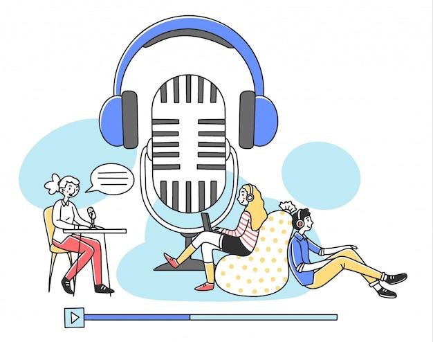 Ludzie słuchają radiową podcast online ilustrację