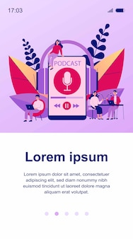 Ludzie słuchający głośników z ilustracji stacji nadawczej. mężczyzna i kobieta słucha podcastu online anchorperson siedzi i mówi do mikrofonu. koncepcja radia i technologii