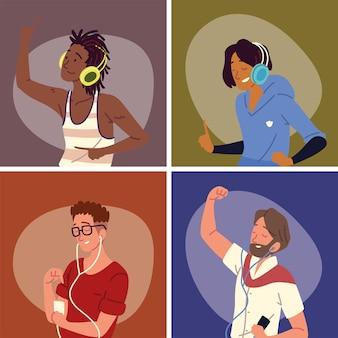 Ludzie słuchający muzyki