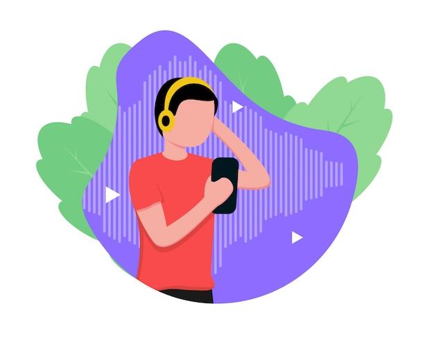 Ludzie słuchający podcastów w stylu płaskiej konstrukcji