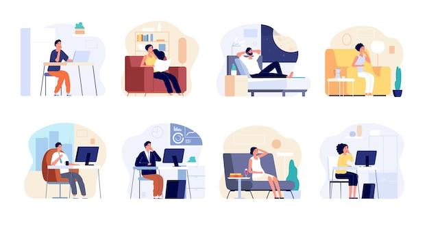 Ludzie śnią. marzycielski mężczyzna myśli, pracuje lub odpoczywa w domu. młoda kobieta wyobraźni, kreatywnych pracowników uśmiechnięty i ilustracji wektorowych pomysłów. śniąca postać, zamyślony mężczyzna w biurze