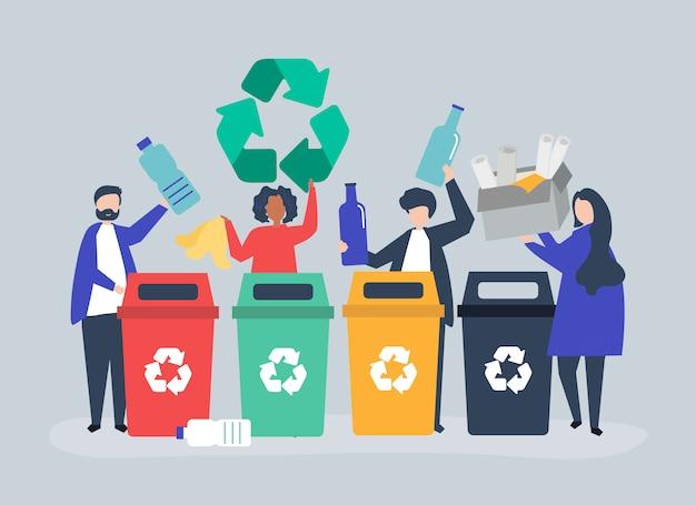 Ludzie sortujący śmieci do recyklingu