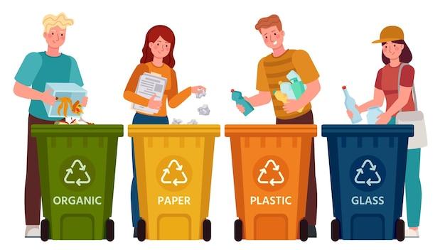 Ludzie sortujący śmieci. mężczyźni i kobiety segregują odpady i wyrzucają śmieci do pojemników na surowce wtórne. ilustracja wektorowa styl życia ekologia. odpady i śmieci, wyrzucanie śmieci, segregacja środowiskowa