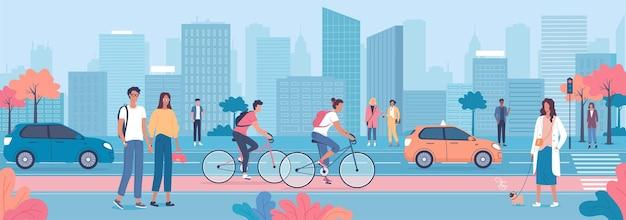 Ludzie spacerujący i jeżdżący samochodami rowerowymi w niebieskim pejzażu miejskim