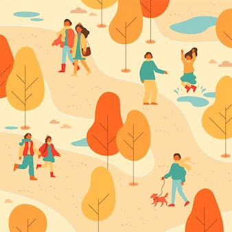 Ludzie spacerujący po parku