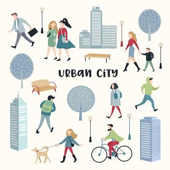 Ludzie spacerujący po ulicy. architektura miejskiego miasta. zestaw znaków z rodziną, dziećmi, biegaczem i rowerzystą.