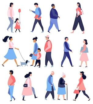 Ludzie spacerujący po ulicy kolekcja męskich i żeńskich płaskich postaci z kreskówek płaska konstrukcja