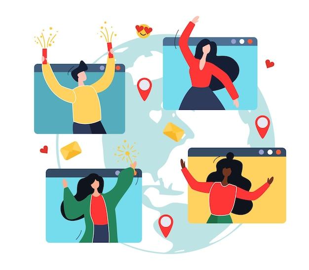 Ludzie spędzają wakacje online. mężczyźni i kobiety na komputerowych oknach, zabawa, świętowanie. ilustracja stylu cartoon