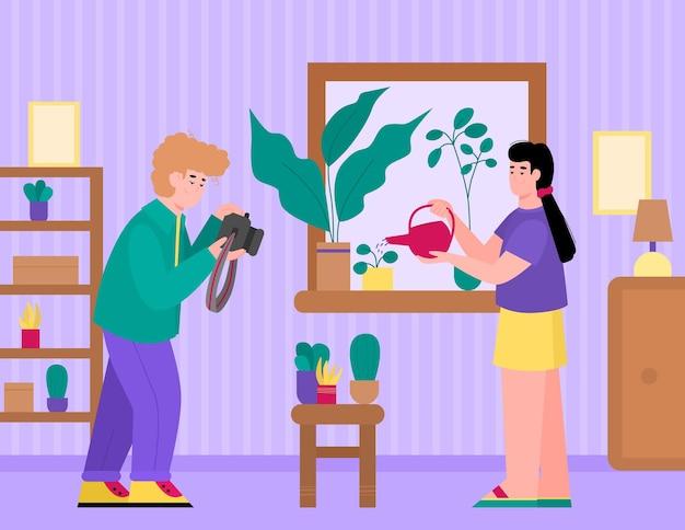 Ludzie spędzający czas na ulubionych hobby ilustracja kreskówka płaski wektor