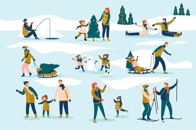 Ludzie spędzający zimą czas na świeżym powietrzu