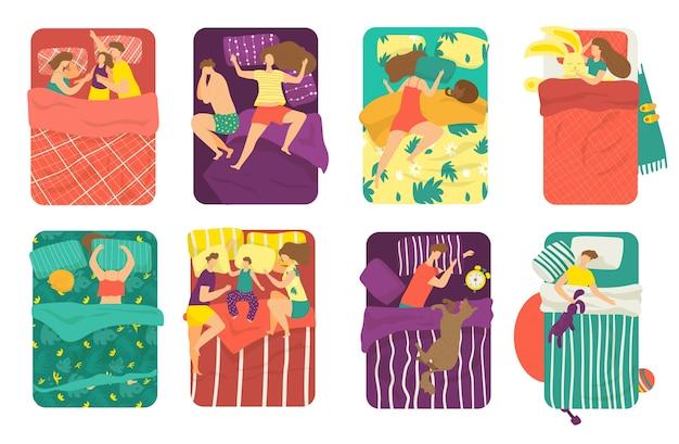 Ludzie śpią w łóżku w różnych pozach zestaw ilustracji. spanie w łóżku z dziećmi, kotami razem i pod poduszką. śniąca kobieta i śpiący mężczyzna w nocy. relaks przed snem, odpoczynek, widok z góry.