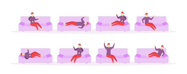 Ludzie śpią W Różnych Miejscach W Domu. Premium Wektorów