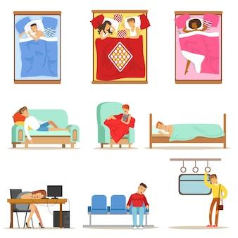 Ludzie śpią w różnych pozycjach w domu iw pracy