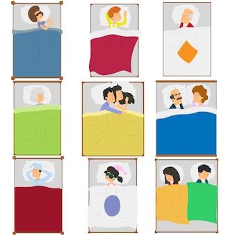 Ludzie śpią w swoich łóżkach w różnych pozach.