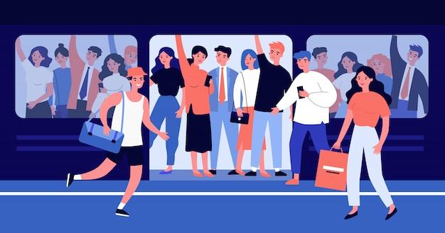 Ludzie śpieszy w przepełnionej ilustraci pociągu